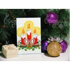 Рождественские свечи 10х15 см Счётная алмазная вышивка