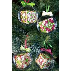 """Набор шаров """"Рождественские 5-8"""" - Алмазная вышивка, диаметр 8см (полная/квадратные)"""