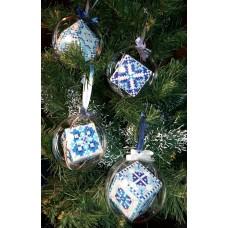 """Набор шаров """"Морозные 1-4"""" - Алмазная вышивка, диаметр 8см (полная/квадратные)"""