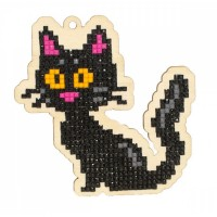 Подвеска Гранни Wood «Черная кошка», 9,6х9,5 см (полная/квадр.)