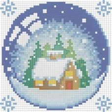 """Картина стразами """"Новогодний шарик с домиком"""""""