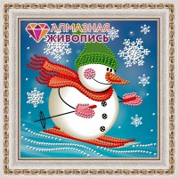 """Картина стразами """"Снеговик лыжник"""""""